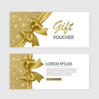 Set cadeaubon kaartsjabloon, reclame of verkoop. sjabloon met glitter textuur en realistische boog illustratie,