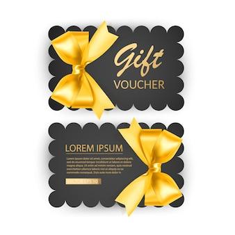 Set cadeaubon kaartsjabloon reclame- of verkoopsjabloon met realistische gouden strik Premium Vector