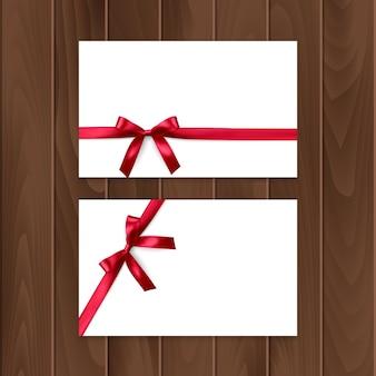 Set cadeaubonnen met realistische boog en lint.
