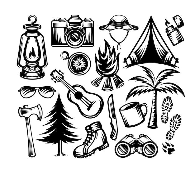 Set camping elementen illustratie zwart-wit stijl geïsoleerd
