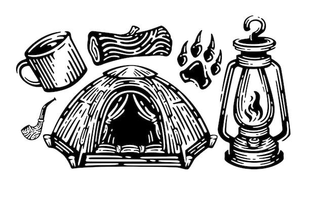 Set camping elementen vintage illustratie