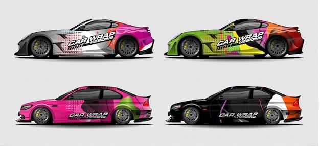 Set car graphics voor vinyl en sticker wrap