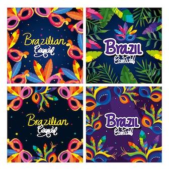 Set carnaval brazil kaarten