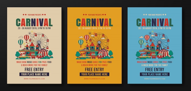Set carnaval feest folder sjabloon, retro plat ontwerp