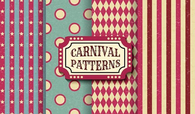 Set carnaval retro vintage naadloze patronen. getextureerde ouderwetse circusbehangsjablonen. verzameling van vector textuur achtergrond tegels. voor feesten, verjaardagen, decoratieve elementen.