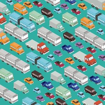 Set cars isometrics proy-patroon