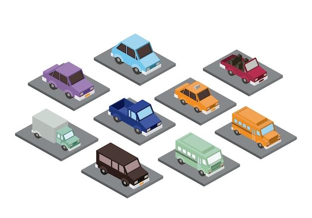 Set cars isometrics proy pictogram