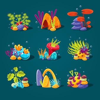 Set cartoon algen, elementen voor aquariumdecoratie