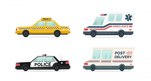 Set cartoon ambulance, politie, levering en gele taxi auto