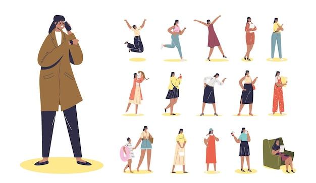 Set cartoon boos meisje spreekt op mobiel telefoongesprek agressief en gestrest in verschillende levensstijlsituaties en poses: thuis, spelen met kat, wandelen met dochter. platte vectorillustratie