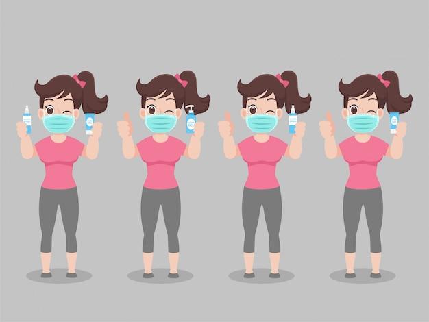 Set cartoon character woman draag gezichtsmasker show en maak haar handen schoon met alcoholgel