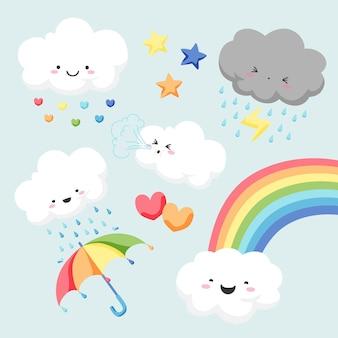 Set cartoon chuva de amor decoratie-elementen