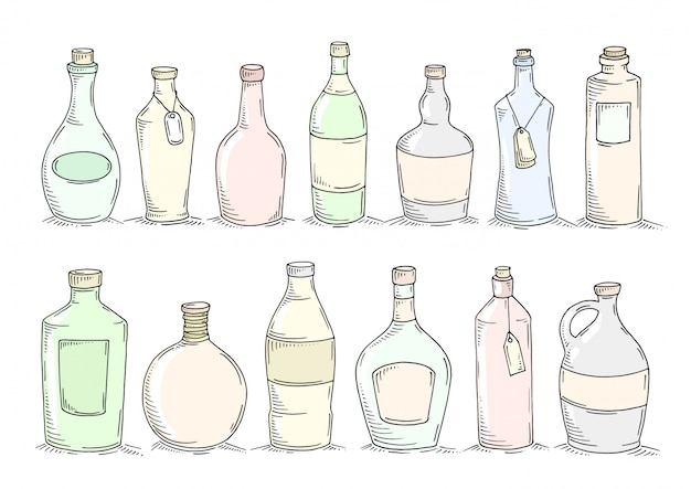 Set cartoon doodle flessen.
