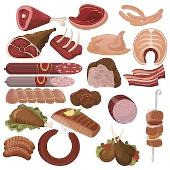 Set cartoon eten. collectie van gestileerde rauw vlees. gesneden assortiment van vers vlees.