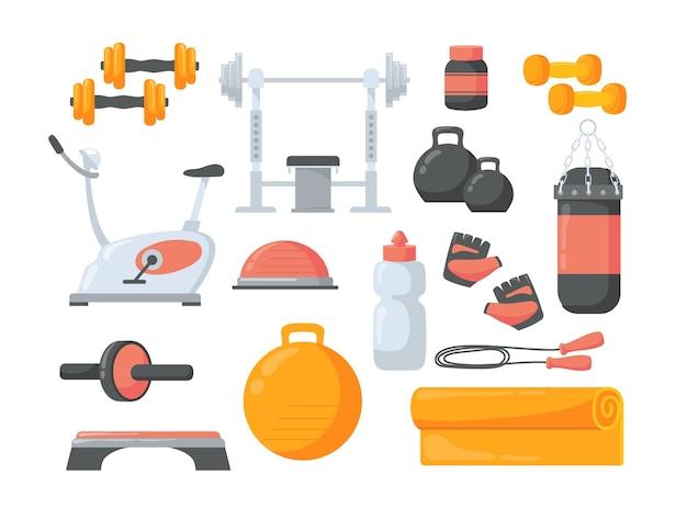 Set cartoon fitnessapparatuur vlakke afbeelding.
