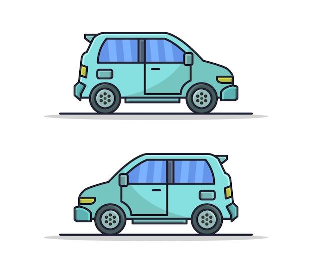 Set cartoon geïllustreerde auto