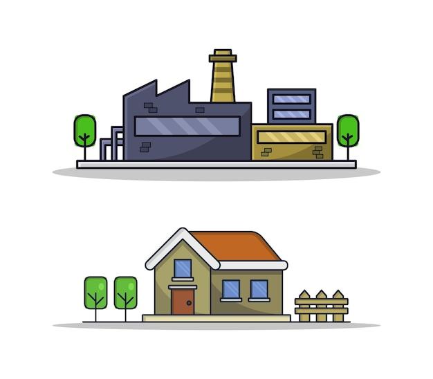 Set cartoon geïllustreerde gebouwen