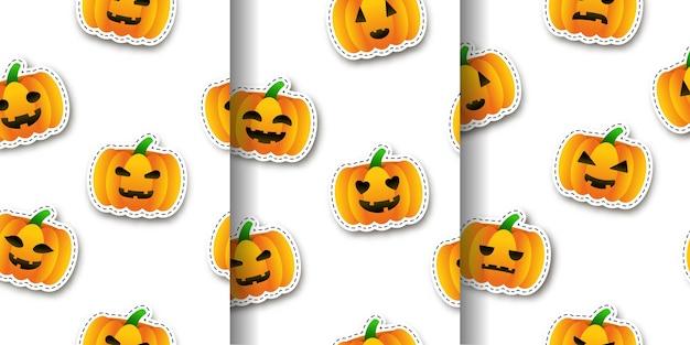 Set cartoon geïsoleerde naadloze patroon met pompoen stickers.