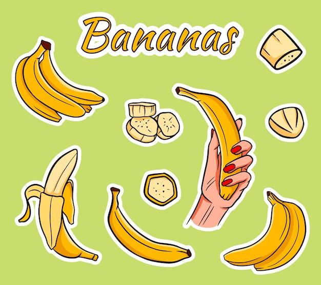 Set cartoon gele bananen. overrijpe banaan, één banaan, gepelde banaan, tros bananen.