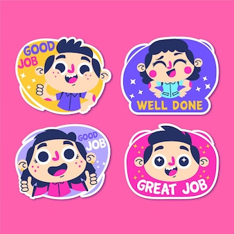 Set cartoon goede baan stickers