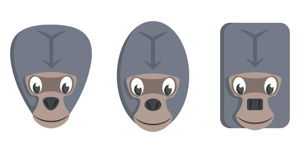 Set cartoon gorilla's. verschillende vormen van dierengezichten.