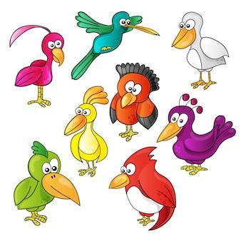 Set cartoon grappige schattige vogels op witte achtergrond
