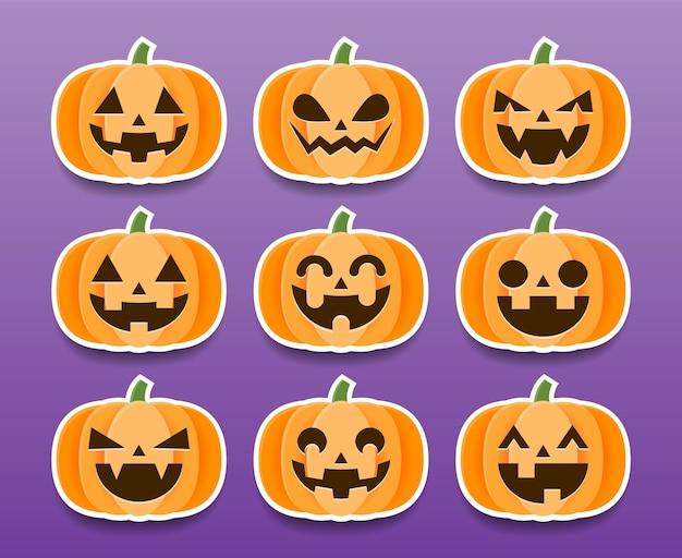 Set cartoon halloween pompoenen stickers.