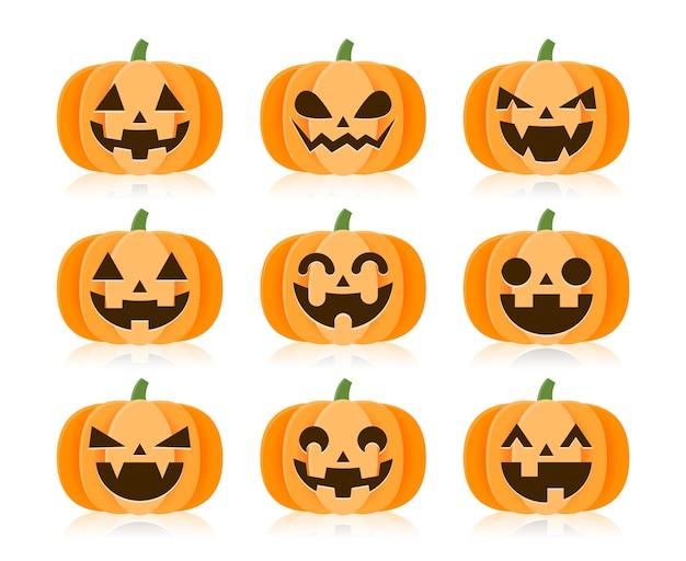 Set cartoon halloween pompoenen.