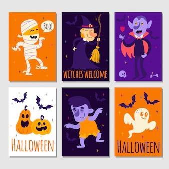 Set cartoon halloween posters