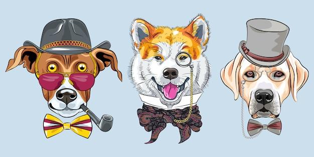Set cartoon hipster honden