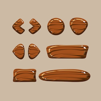 Set cartoon houten knoppen