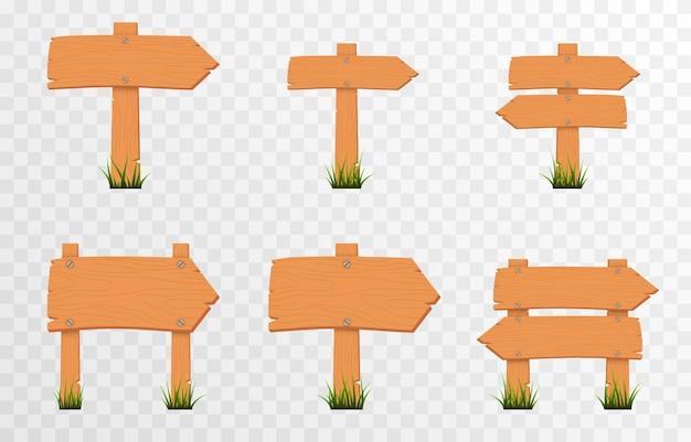Set cartoon houten wijzers borden op groen gras houten wijzers plaques