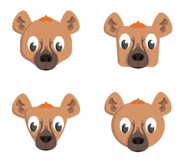Set cartoon hyena's. verschillende vormen van dierenkoppen.