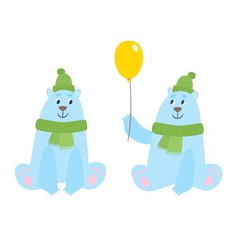Set cartoon ijsberen met hoed een sjaal