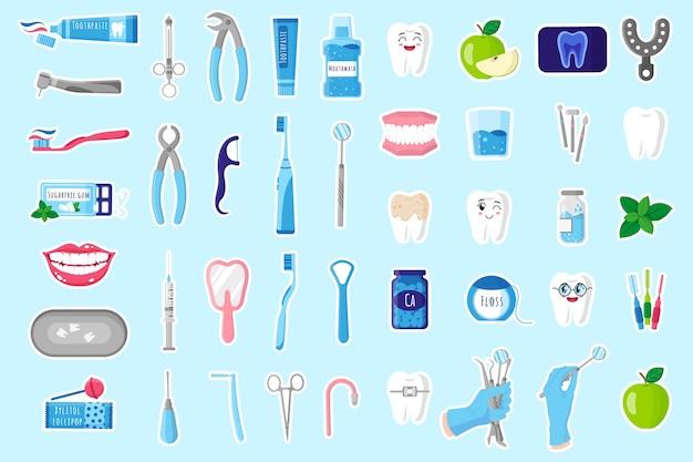 Set cartoon illustraties van stickers met medische tandheelkundige therapeutische, chirurgische en verzorgingshulpmiddelen voor tandheelkundige behandeling, mondholte en tandverzorging. tandheelkundig concept.