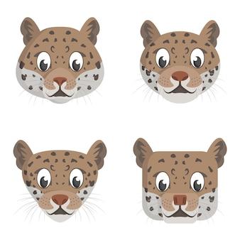 Set cartoon jaguars. verschillende vormen van dierenkoppen.
