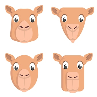 Set cartoon kamelen. verschillende vormen van dierenkoppen.