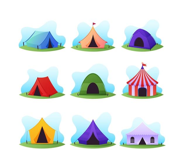 Set cartoon kampeer- en circustenten, kleurrijke campingkoepels