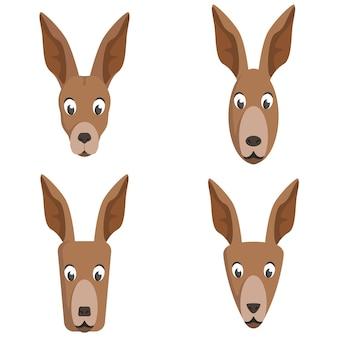 Set cartoon kangoeroes. verschillende vormen van dierenkoppen.