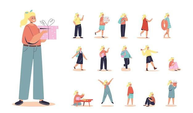 Set cartoon klein meisje houdt de huidige meisjesdoos vast die in verschillende levensstijlsituaties en poses loopt: ren blij en vrolijk, zit huilend ongelukkig en overstuur, met rugzak. platte vectorillustratie