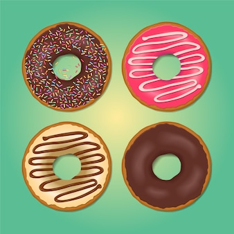 Set cartoon kleurrijke donuts. bovenaanzicht donuts