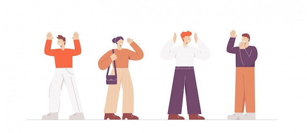 Set cartoon kleurrijke mensen met paniekstoornis illustratie