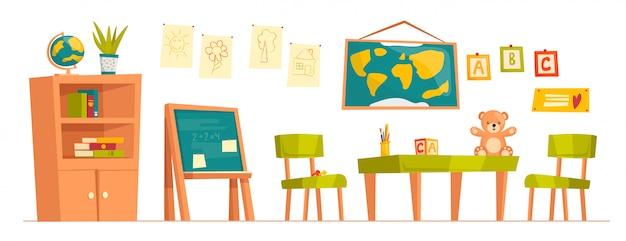 Set cartoon kleuterschool meubilair. basisschool klas. schoolbord, kindertekeningen, kaart, stoelen, tafel, beer, blokjes, stickers met letters.