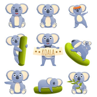 Set cartoon koala's met verschillende emoties