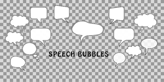 Set cartoon komische dialoog tekstballonnen geïsoleerd transparant