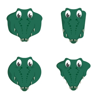 Set cartoon krokodillen. verschillende vormen van dierenkoppen.