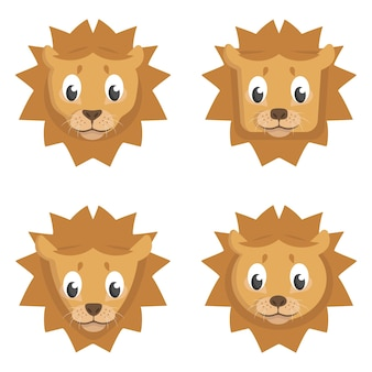 Set cartoon leeuwen. verschillende vormen van dierenkoppen.