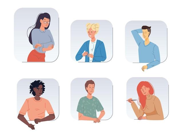 Set cartoon meisje jongen platte karakters avatars van verschillende rassen