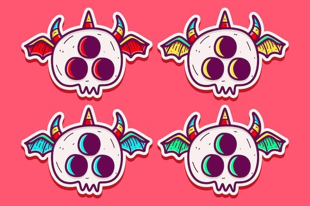 Set cartoon monster doodle geïsoleerd op roze