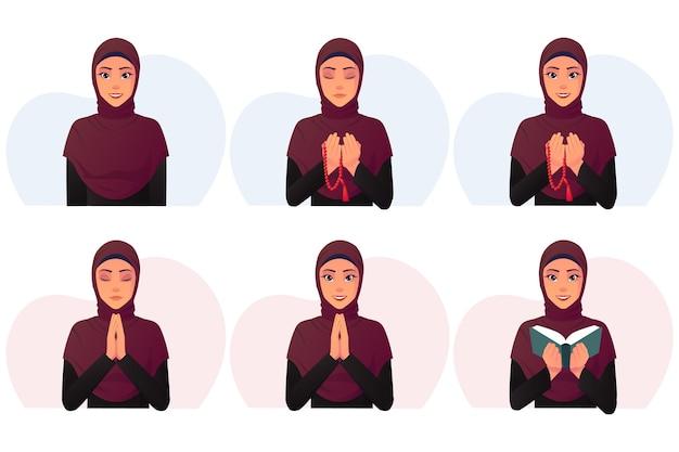 Set cartoon moslimvrouw draagt een zwarte jurk en rode hijab Premium Vector